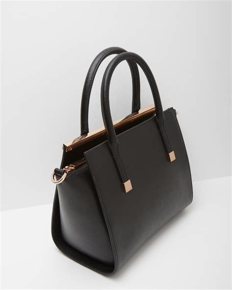 ted baker crosshatch leather tote bag in black lyst
