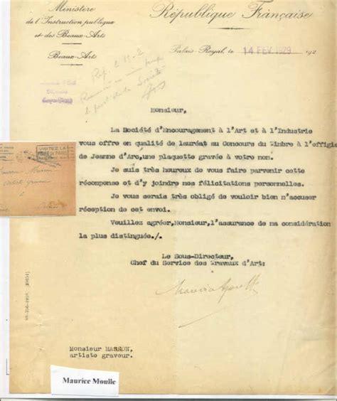 Lettre De Remerciement Jury Le Concours Organise En 1928 Pour Le Timbre Jeanne Orleans 1929