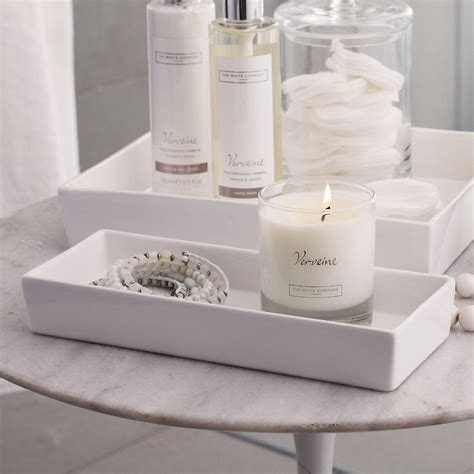 ceramic tray for bathroom ceramic rectangular container white the white company