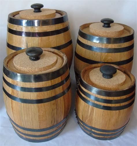 wine kitchen canisters oak barrel canister set red head oak barrels aging rum
