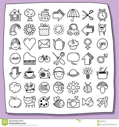 free doodle icon set childish doodle icon set stock illustration image of boys