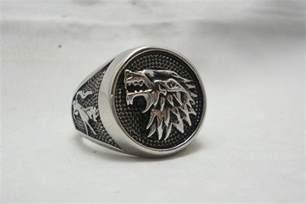 Game of thrones house stark ring direwolf wolf ring ebay