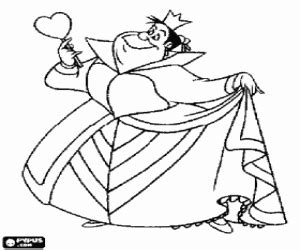 alice and queen of hearts coloring page coloring pages