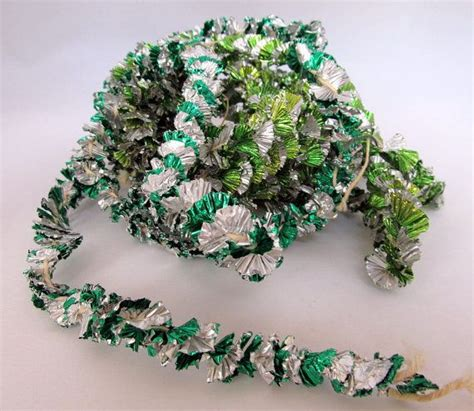 vintage silver green aluminum foil tinsel tree garland st