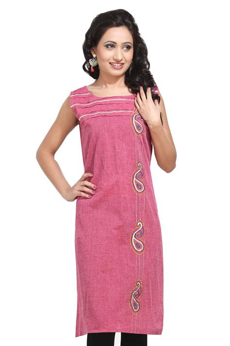gorgeous looking boat neck pink kurti india - Boat Neck For Kurti