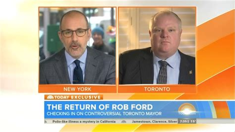 rob ford toronto mayor on matt lauers today show no ford dodges drug use question denies heavy drinking in