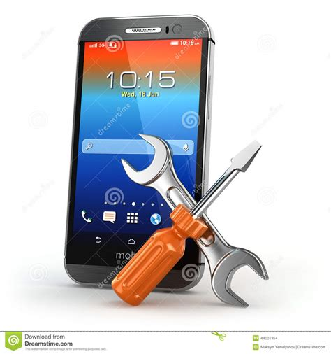 mobile services mobile service concept smarthone with tools stock