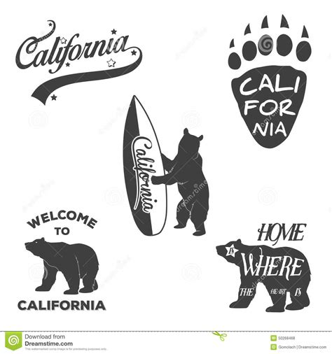vintage monochrome california badges and design stock