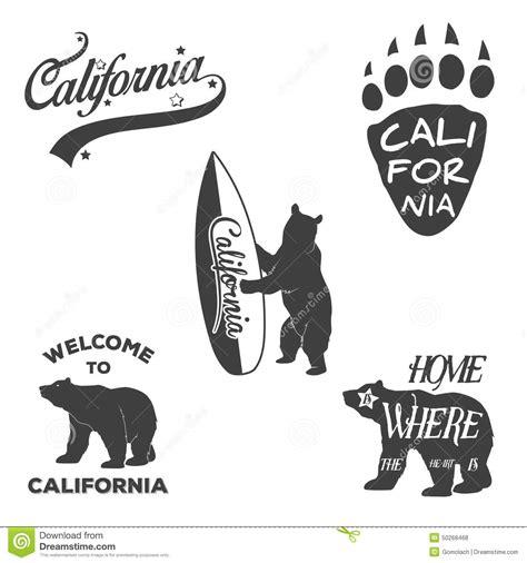 vintage monochrome california badges and design stock