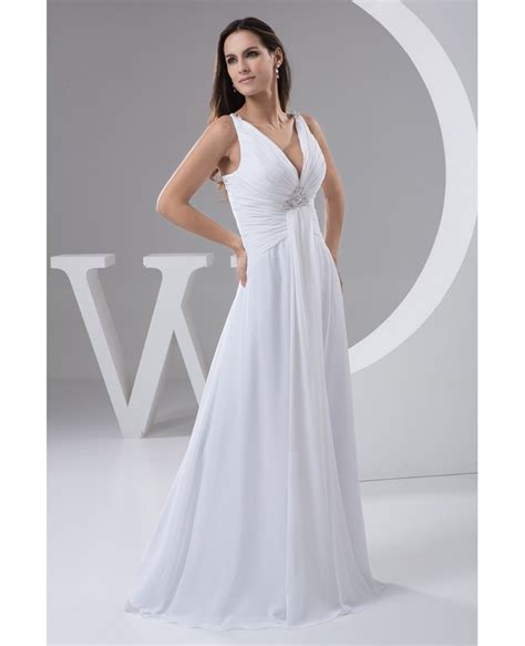 neck floor length chiffon wedding dress