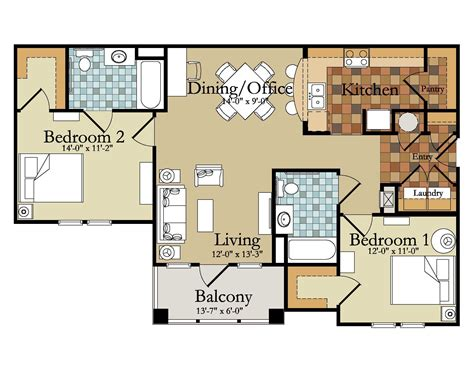 apartments floor plans 2 bedrooms ideas modern