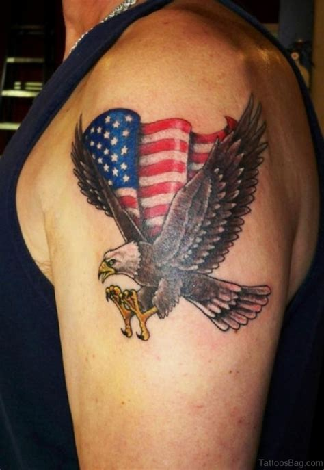 eagle cross tattoos 53 top flag tattoos on shoulder