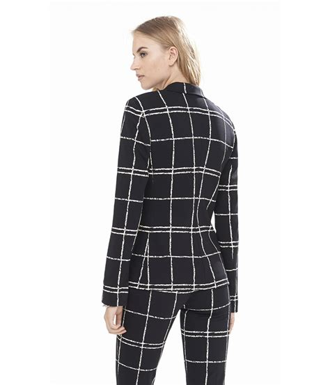 express knit blazer express painted windowpane plaid ponte knit blazer in