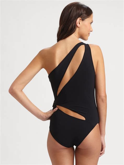 Cutout Swim Suit lyst emilio pucci one cutout swimsuit in black