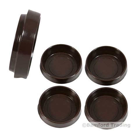 4 brown castor cups 60mm large furniture chair leg floor