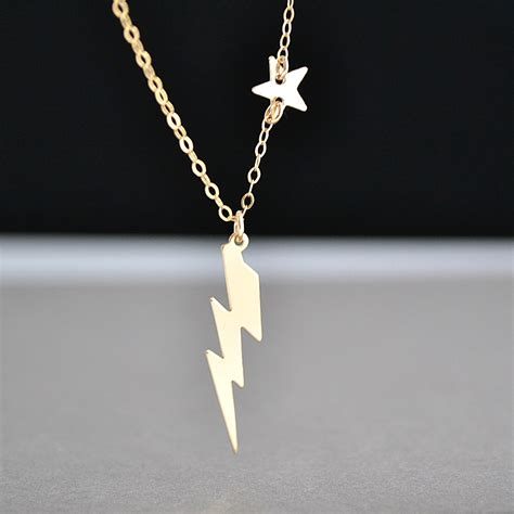 lightning bolt necklace tiny necklace gold or silver