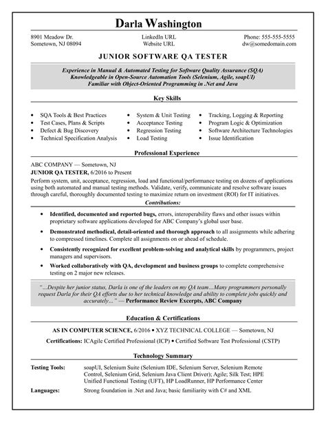 software tester resume format manual tester resume sles