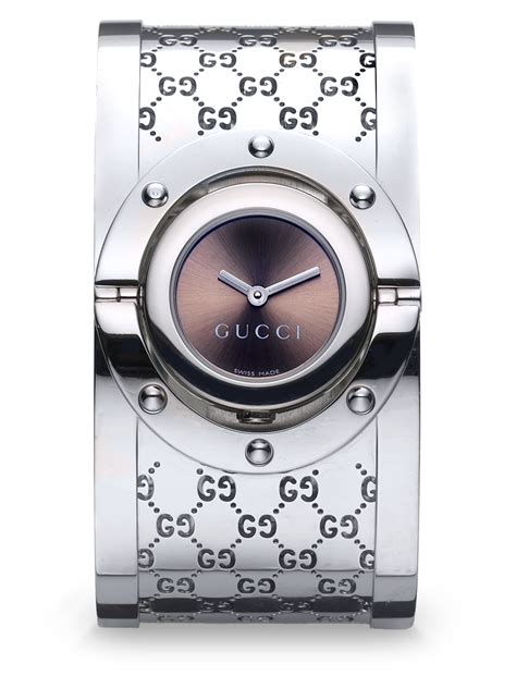 Gucci Watches The Twirl Gucci With Rotating by Gucci Twirl Stainless Steel Monogram Bangle Bracelet