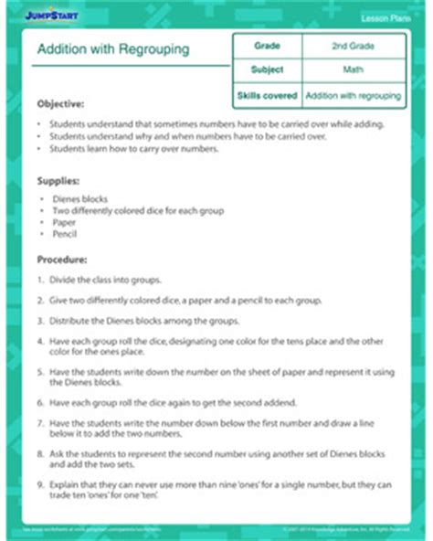 second grade lesson plan template addition 187 addition worksheets carrying free math