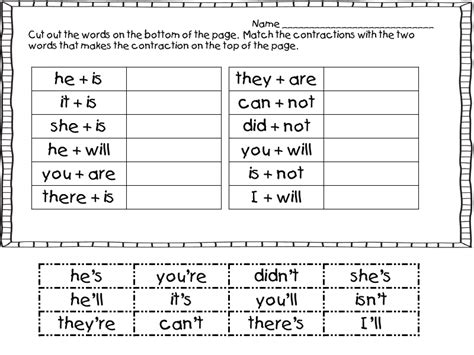 printable worksheets contractions 2nd grade 15 best images of for second grade contraction worksheets
