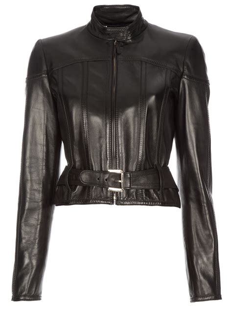 gucci belted leather jacket in black lyst