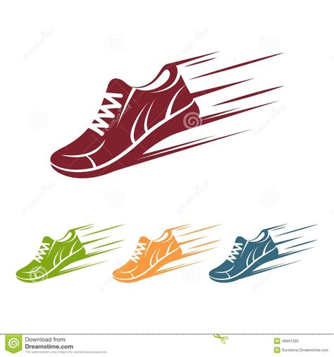 running shoes vector speeding running shoe icons stock vector image 46901325