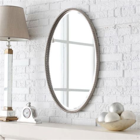 Framed Oval Mirrors For Bathrooms Master Bathroom Mirror Ideas Oval Brown Wooden Frame Wall Mirror Green Accent Wall Decoration