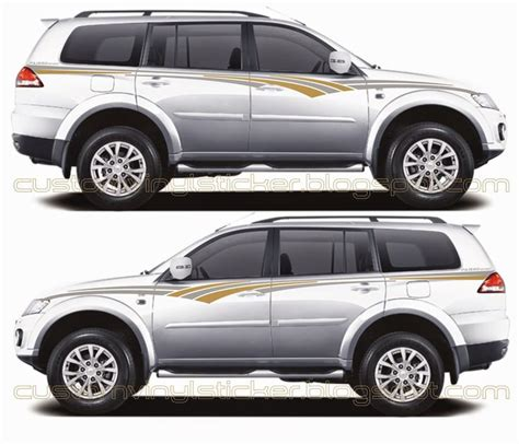 mitsubishi sticker mitsubishi pajero white grey gold strip sticker