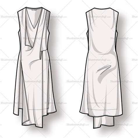 dress design draping and flat pattern making pdf download women s draped asymmetrical dress fashion flat template