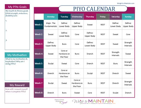 printable calendar exercise printable piyo calendar and workout schedule weigh to