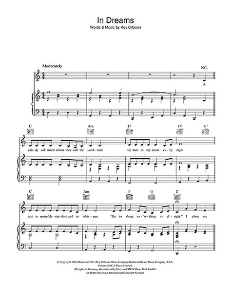 In Dreams sheet music by Roy Orbison (Piano, Vocal