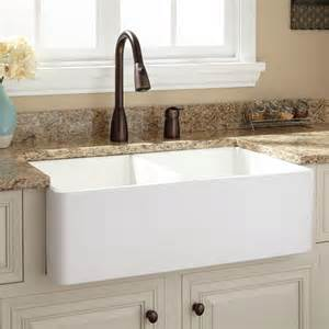 4 Hole Kitchen Faucet by 33 Quot Baldwin Double Bowl Fireclay Farmhouse Sink Smooth
