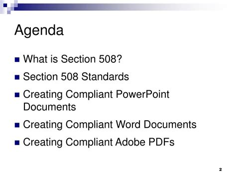 section 508 of the rehabilitation act requires federal agencies to ppt creating section 508 compliant documents