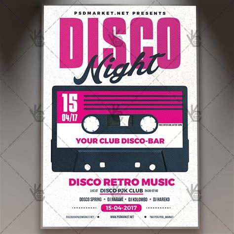 retro 80 s card templates free disco premium flyer psd template psdmarket