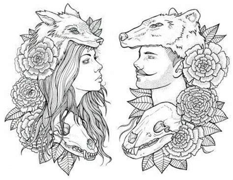 Tattoo Couple Sketch | amazing sketch couple wolf tattoo tattoos pinterest