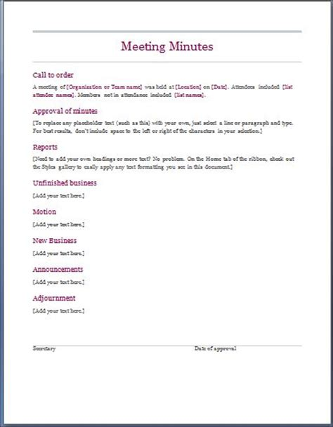 minutes for meetings template business meeting minutes template search results