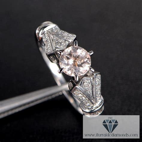antique morganite engagement ring pave diamonds