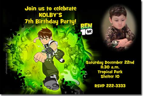 Ben 10 Birthday Invitation Cards Templates by Ben 10 Birthday Invitations Wrappers Thank You