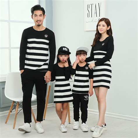 family clothes 2016 family set striped mother daughter dresses father son