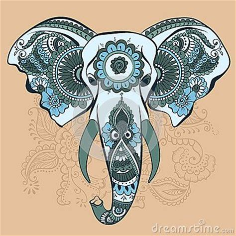 elephant tattoo clipart vector elephant on the henna indian ornament a elephant