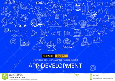 backdrop design app app development infpgraphic concept background with doodle