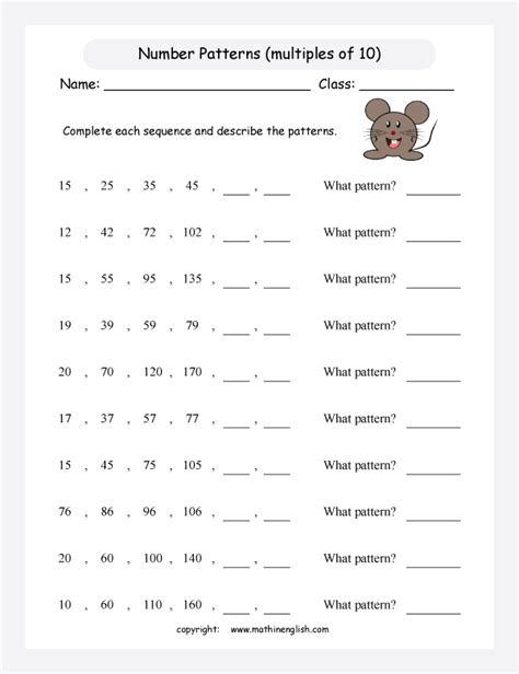 pattern games third grade free worksheets 187 big printable numbers free math