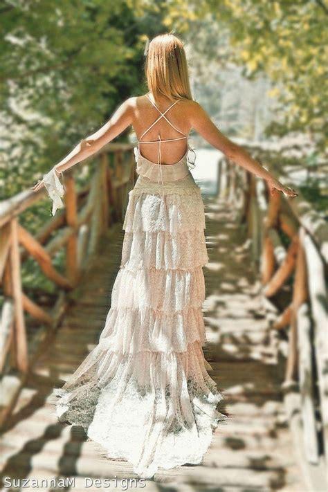 Wedding Dress Handmade - blush pink lace bohemian wedding dress bridal wedding gown