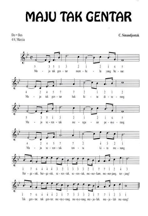 membuat lagu dengan not balok lirik lagu maju tak gentar beserta not angka dan