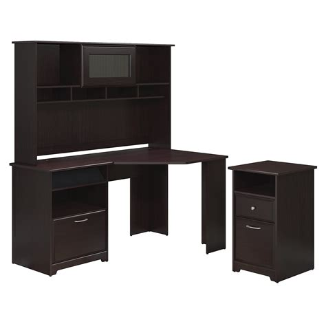 Corner Desk Cabinet Bush Furniture Cabot Collection 60w Corner Desk Hutch And 2 Drawer Filing Cabinet Home