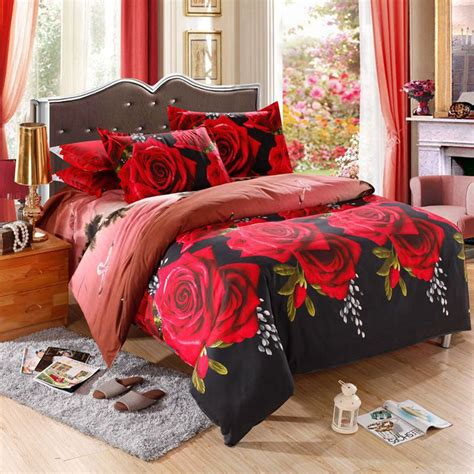 4 Pcs 3d Floral Bedding Sets King Size Duvet Cover Sets Flower Bed Set
