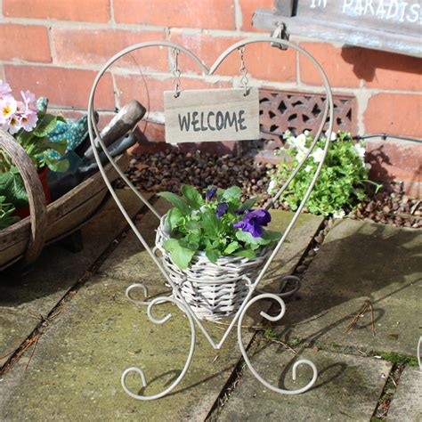 Welcome Planters by Grey Metal Planter With Welcome Plaque Melody Maison 174
