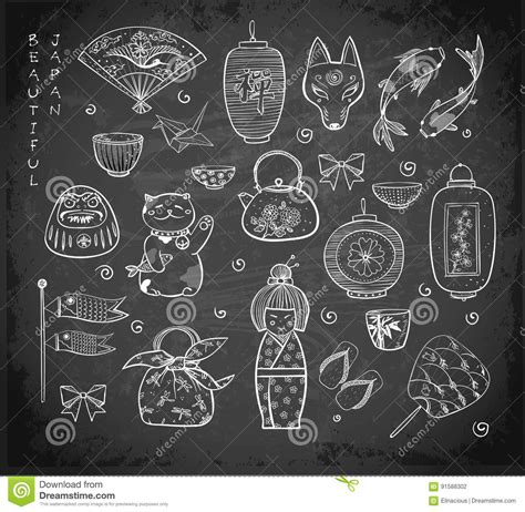 doodle 4 japan japan doodle sketch elements on blackboard background