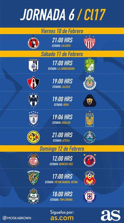 Calendario De Juegos Liga Mx Jornada 17 Fechas Y Horarios De La Jornada 6 Clausura 2017 De La