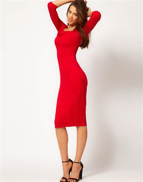 11 Dress Ruby Pink asos pencil dress with cowl neck in lyst